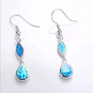 Blue Fire Opal Inlay Hook Earrings